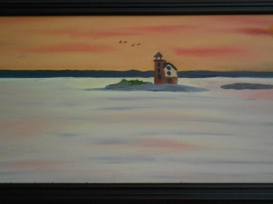 lighthouse on the river-oil-$200.