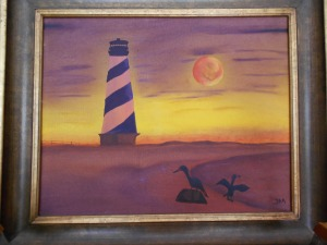 the lighthouse and the moon-oil-$200.