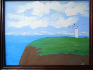 The Lonely Lighthouse 11x14 acrylic signed and framed